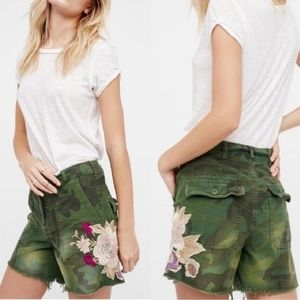 Free People Floral Embroidery Camo Shorts